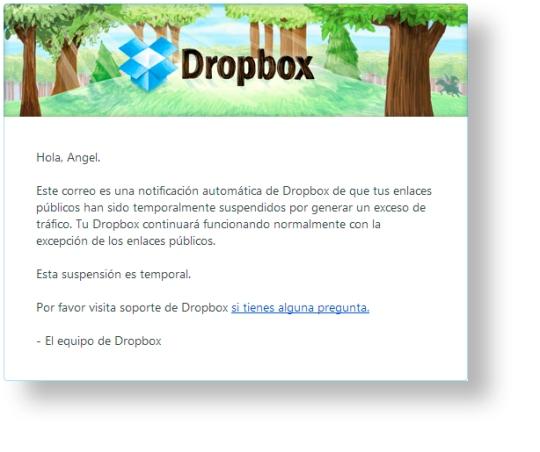 Suspensión temporal de Dropbox