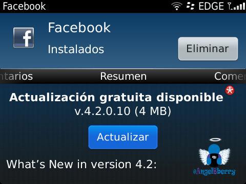 Descarga Facebook v4 2 0 10 disponible desde el BlackBerry